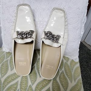 Stuart weitzman patent leather slide loafers made